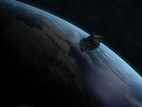 Asteroid in Front of the Earth II Fine-Art Print