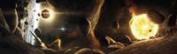 Asteroid field next to an Earth-like Planet in a Dual-star System Fine-Art Print