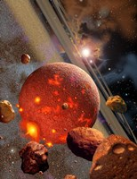 Primordial Earth being formed by Asteroid-like Bodies Fine-Art Print