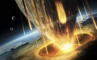 Giant Asteroid collides with the Earth Fine-Art Print