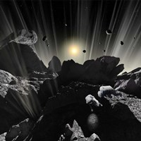 Astronauts explore the tumultuous surface of a Comet Fine-Art Print