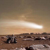 Close pass of Comet C/2013 A1 over Mars Fine-Art Print