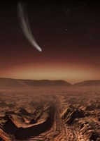 Comet lights up the landscape of Candor Chasma over Mars Fine-Art Print