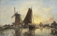 Boats Near The Windmill, Holland, 1868 Fine-Art Print