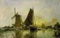 Boats Near Mills In Holland, 1868 Fine-Art Print