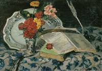 Flowers, Faience and Books Fine-Art Print