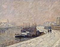 Barges Under Snow Fine-Art Print