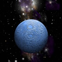 Artist's depiction of a cratered moon in space with a Nebula in the background Fine-Art Print
