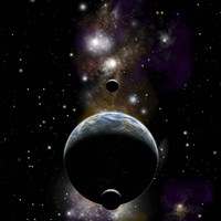An Earth type world with two moons against a background of Nebula and stars Fine-Art Print