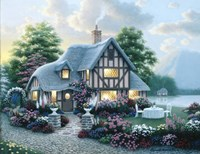 Lakeside Cottage Fine-Art Print
