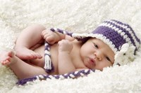 Baby In Lavender And White Cap Fine-Art Print