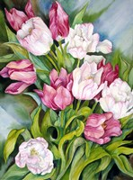 Light Pink And Dark Tulips Fine-Art Print