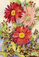 Red Gerbera Daisies And Berries Fine-Art Print
