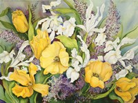 Yellow Tulips, White Iris And Heather Fine-Art Print