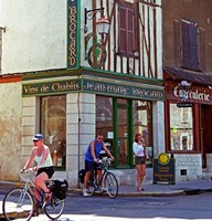 Wine Shop and Cycling Tourists, Chablis, France Fine-Art Print
