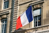 French Flag Facade of Justice Palace Paris, France Fine-Art Print