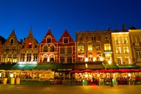 Cafes in Marketplace in Downtown Bruges, Belgium Fine-Art Print