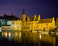The Rozenhoedkaai at Night, Bruges, Belgium Fine-Art Print