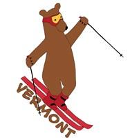 Skiing Bear Fine-Art Print