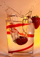 Strawberry Splash In Red Swirl Glass I Fine-Art Print