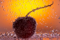 Cherry Underwater Covered In Water Drops II Fine-Art Print