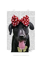 Black Labrador With Red Bow On Head Fine-Art Print