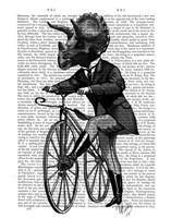 Triceratops Man on Bike Dinosaur Fine-Art Print