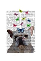 White French Bulldog and Butterflies Fine-Art Print