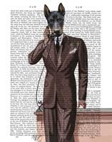 Doberman on Phone Fine-Art Print