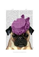 Pug with Vintage Purple Hat Fine-Art Print