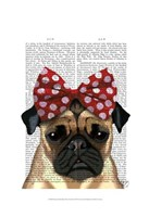Pug with Red Spotty Bow On Head Fine-Art Print