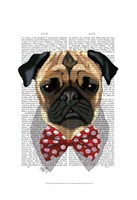 Pug with Red Spotted Bow Tie Fine-Art Print