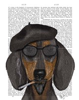 Hipster Dachshund Black and Tan Fine-Art Print