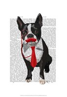 Boston Terrier With Red Tie and Moustache Fine-Art Print