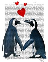 Penguins With Love Hearts Fine-Art Print