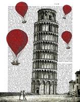 Tower of Pisa and Red Hot Air Balloons Fine-Art Print