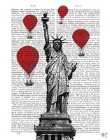 Statue Of Liberty and Red Hot Air Balloons Fine-Art Print