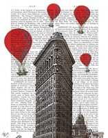 Flat Iron Building and Red Hot Air Balloons Fine-Art Print