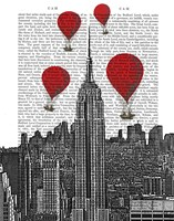 Empire State Building and Red Hot Air Balloons Fine-Art Print