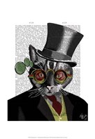 Steampunk Cat - Top Hat and red yellow glasses Fine-Art Print
