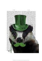 Badger with Green Top Hat and Moustache Fine-Art Print
