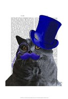 Grey Cat With Blue Top Hat and Blue Moustache Fine-Art Print