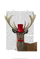 Deer with Red Top Hat and Moustache Fine-Art Print