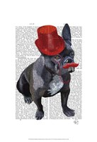 French Bulldog With Red Top Hat and Moustache Fine-Art Print