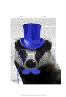 Badger with Blue Top Hat and Moustache Fine-Art Print