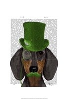 Dachshund with Green Top Hat Black Tan Fine-Art Print