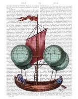 Hot Air Balloon Airship With Red Sail Fine-Art Print