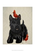 Scottie Dog and Red Birds Fine-Art Print