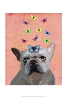 White French Bulldog and Butterflies Fine-Art Print