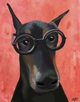 Doberman With Glasses Fine-Art Print